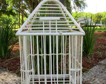 """Rustic Vintage Wooden Bird Cage / 26"""" Tall / Cottage Chic Table Top or Hanging"""