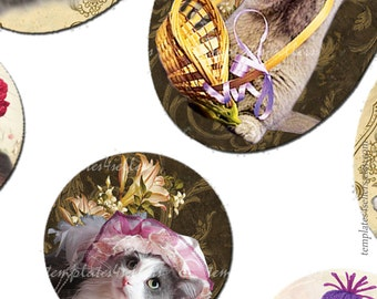 Digital Collage Sheet  Kittens Vintage Funny 30x40 mm oval 1 inch round images Pendants Printable Original  4x6 inch sheet  107