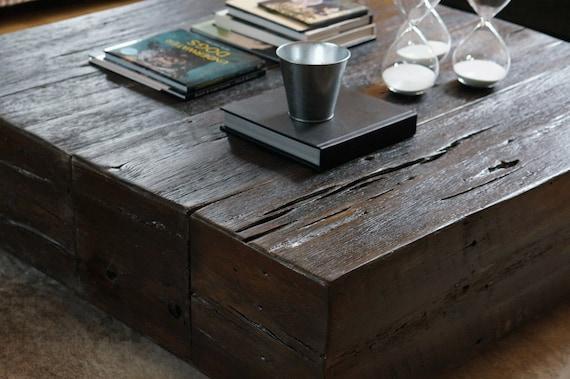 Reclaimed barn wood beam coffee table by theplaidmill on etsy for Wood beam coffee table