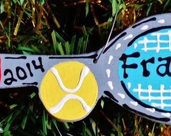 U CHOOSE Name & Date Personalized TENNIS ORNAMENT Christmas Name Sports Racquet Ball Handcrafted Handpainted