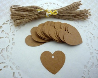 50 Brown Kraft Paper Heart Shaped Gift Tags Price Tag Crafts 4 x 4cm