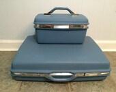 Set of Two 2 Vintage Samsonite Luggage Montebello II in Blue