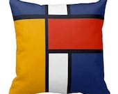 Decorative Pillow Accent Pillows Couch Toss 16x16Inch Red-Blue-Yellow Pillow Cover Mondrian Inspired