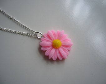 Pink Daisy Resin Pendant Necklace, Flower Necklace, Daisy Necklace, Silver Necklace- Nickel Free
