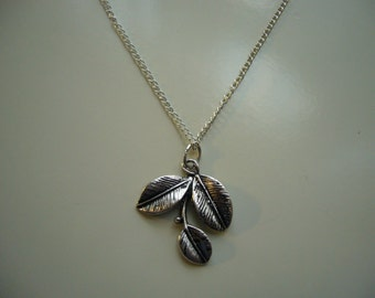 Leaves Pendant Necklace - Antique Silver Leaves Necklace - Leaves Pendant Charm - Miniature Leaves- Nickel Free