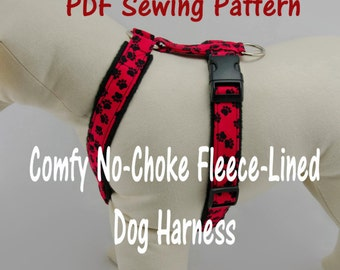 Dog Harness – no-choke and fleece-lined -- PDF Sewing Pattern