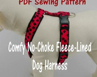 Dog Harness – no-choke and fleece-lined -- PDF Sewing Pattern