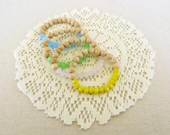 Pastel Stretchy Beaded bracelet - Wooden/Glass beads