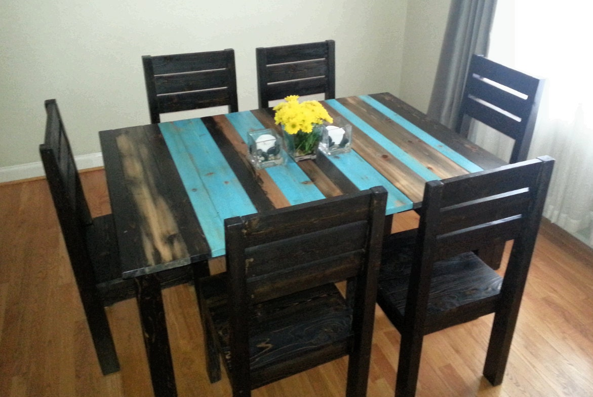 Distressed rustic dining table kitchen table by buehlerfurniture - Painted dining tables distressed ...