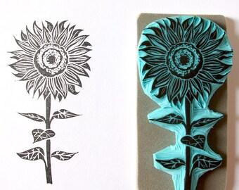 Sunflower rubber stamp - hand carved  stamp - summer decor, sunflower, wedding decor