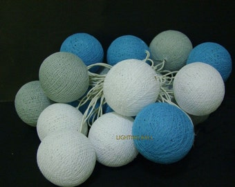 20 Mixed Gray White Blue cotton ball string lights for Patio,Wedding,Party