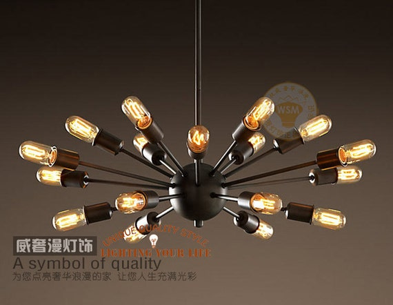 vintage large sputnik chandelier 18 lights lobby hanging stick mid century chandeliers exposed Edison bulb industrial pendant lights CELON