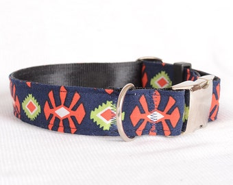 Dog Collar with Personalized Buckle,Fabric 164,1 Inch Wide