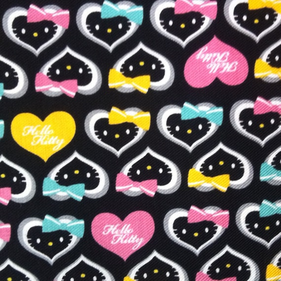 -Hello Kitty 2013 print- Heart Shaped Face with Bow  Black background    Hello Kitty Face Black Background