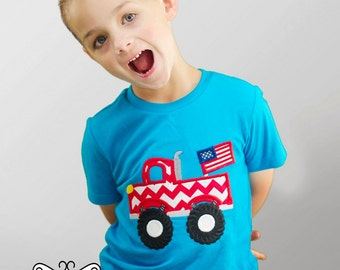 4th of July Chevron Truck - Boys Turquoise Applique Shirt