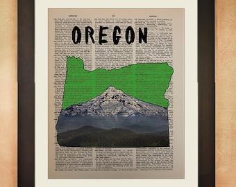 Oregon Dictionary Art Print, Mt Hood Mount State Map Portland Salem Corvallis Eugene Vintage Paper Wall Decor da31