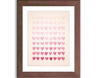 Nursery Art Girl - Nursery Decor - Pink Nursery Wall Art - Watercolor Heart Print - Hearts Artwork - Baby Girl Pink Nursery - Kids Wall Art