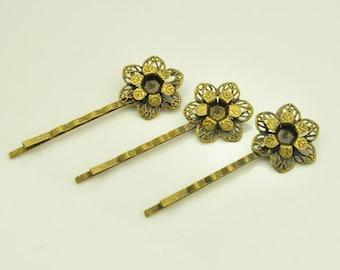 Bobby Pins / Hair Pins - 20 pcs Antique Bronze Filigree Bobby Pins / Hairpin with 22MM Pad