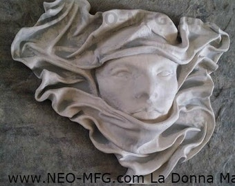 Mask La Donna Wall Sculpture plaque statue Neo-Mfg White Marble 13""