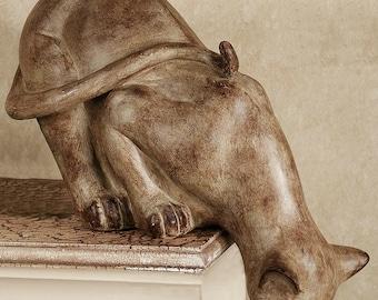 "Animal Feline Cat on Shelf 12"" Sculpture Statue  Neo-mfg"