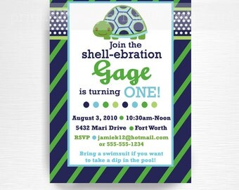 Turtle Birthday Party Printable Invitation YOU Print
