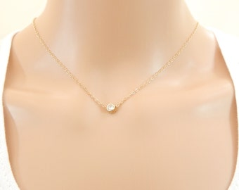 Tiny CZ Necklace, Solitare CZ Necklace, April Birthstone, Cubic Zirconia Necklace