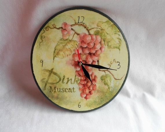 Wall Clock Vintage Grapes /handmade Wooden