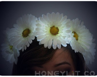 SALE on White Daisy LED Flower Crown Headband - Light Up Flower Crown