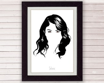 Selena Gomez poster, drawing, LIMITED EDITION FOR 35