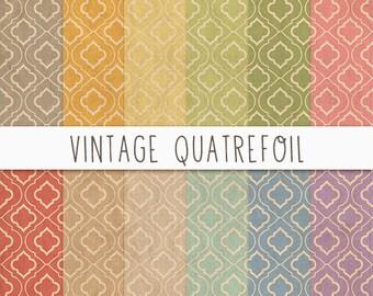 Vintage Digital Paper, Vintage Quatrefoil Digital Paper, Vintage Quatrefoil Paper Texture, Quatrefoil Scrapbook Paper, Instant Download