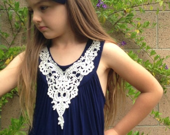 Girls A-Line Navy Blue Dress w/Ivory Appliqué-Sizes 4/5, 6/6X, 7/8, 10-Ready to Ship