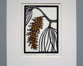 Pine Cone Block Print 11x14 Handmade Linocut
