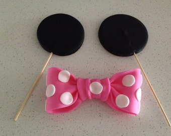 Edible Fondant Minnie Mouse Inspired Cake/ Giant Cupcake Toppers