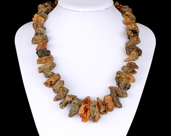 Natural Baltic Amber Adult Necklace with Raw Unpolished Green Massive Beads