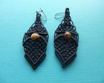 Hippie Earrings Macrame Dangle Style Pierced Earrings with Wood Beads 1980's