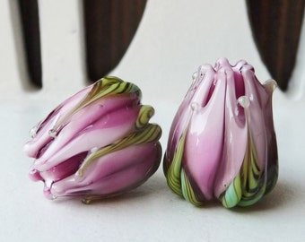 Pink Variegated Flower Buds aka Rose Bud PAIR by Sabrina Koebel Handmade Lampwork Beads