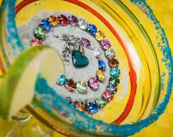 "Swarovski crystals /""Fiesta Loca"" 8mm necklace/Multi-colored necklace/Bold necklace/Fun necklace"
