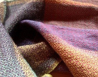 Hand-woven & Hand-dyed Shawl/Wrap made of Alpaca, Silk, and Soft Wool