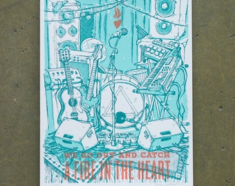 "Fire In Our Hearts | 9"" x 11"" Hand Screenprinted Poster"