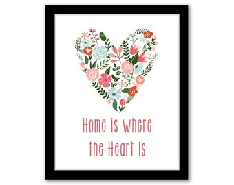 INSTANT DOWNLOAD, Home Is Where The Heart Is, Pink and Orange, Wall Art, Home Decor, Typograohy Art, Inspirational Quote, Printable Art