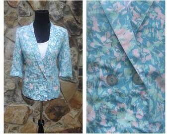 90s Floral Blazer Blue Silk Boyfriend Blazer Sz M-L