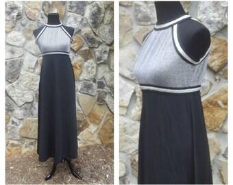 70s Disco Maxi Dress Empire Waist Halter Racing Stripe Metallic Bodice Black Dress Sz S-M