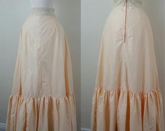 60s Renaissance Slip Skirt Apricot Lace Waist Zippered xs/s