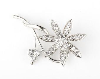 4 pcs Vintage Rhinestone Pin Brooch, DIY Wedding Brooch Bouquet Lot Bridal Bridesmaid Gift Embellishment