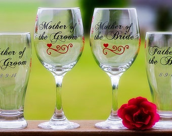 Mother of the Bride, Father of the Groom, Mother of the Groom, Father of the Bride, beer glass, wine glass. Priced individually