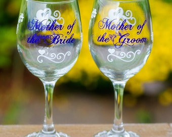 Mother of the Bride, Father of the Bride, Mother of the Groom, Father of the Groom, Pilsner beer glass, wine glass. Priced individually