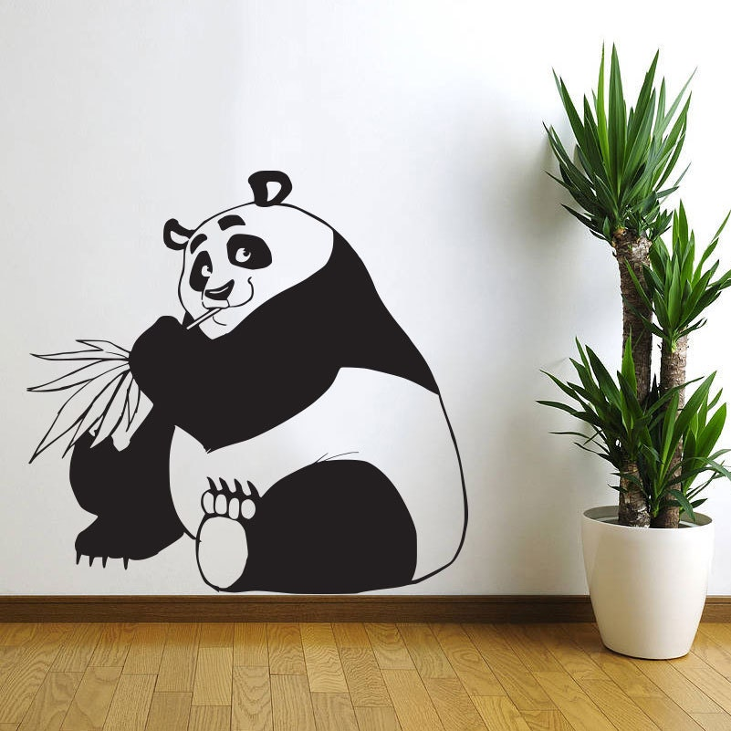 Panda bear wall decal nursery art decor by vinylwallartworks for Panda bear decor