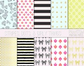 Stripes Dots and Girly Things Digital Paper Set of 10 - Instant Download - Bows and Diamonds