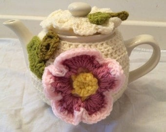 Unique tea cosy for a medium or large teapot (4 to 6) or (6 to 8) cups cozy handmade crochet teapot cover