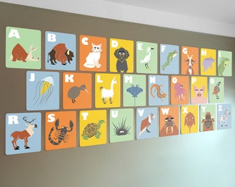 Alphabet wall cards, 8 x 10, ABC flash cards, kids modern wall art, nursery art, baby alphabet, letter art